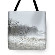 Blowing Snow Over Fields And Forest Tote Bag