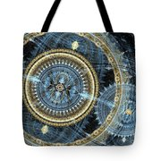Blue And Gold Mechanical Abstract Tote Bag