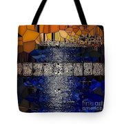 Blue And Gold Stained Abstract Tote Bag