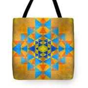 Blue And Gold Yantra Meditation Mandala Tote Bag