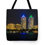 Blue And Green Diamond Twin Towers Tote Bag
