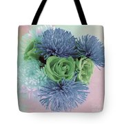Blue And Green Flowers Tote Bag
