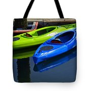 Blue And Green Kayaks Tote Bag