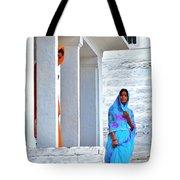 Blue And Orange - Peeking Out Tote Bag