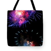 Blue And Red Firework Disks Tote Bag