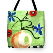 Blue And Red Flowers Tote Bag
