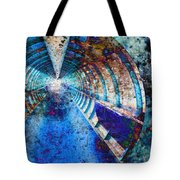 Blue And Rust Grunge Tunnel Tote Bag