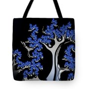 Blue And Silver Fractal Tree Abstract Artwork Tote Bag