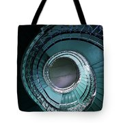 Blue And Silver Spiral Stairs Tote Bag