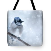 Blue And Snowy Tote Bag