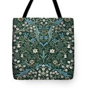 Blue And White Flowers On Green Tote Bag