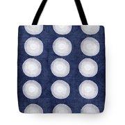 Blue And White Shibori Balls Tote Bag by Linda Woods