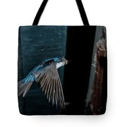 Blue And White Swallow Tote Bag