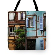 Blue And Yellow Buildings In La Petite Venise In Colmar France Tote Bag