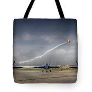 Blue Angels Fa 18 With Grumman Biplane Tote Bag