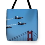 Blue Angels Over The Golden Gate Tote Bag