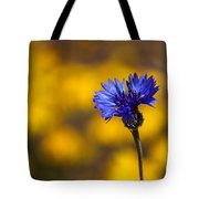 Blue Bachelor Button On Gold Tote Bag