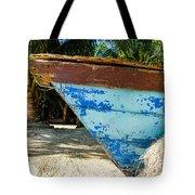Blue Beached Canoe Tote Bag