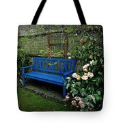 Blue Bench With Roses Tote Bag