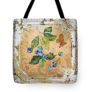 Blue Berries And Butterfly On Vintage Tin Tote Bag