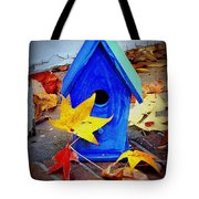 Blue Bird House Tote Bag
