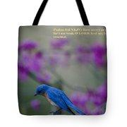Blue Bird Praying Tote Bag
