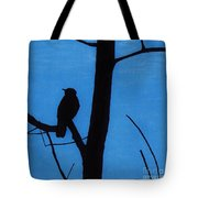 Blue - Silhouette - Bird Tote Bag