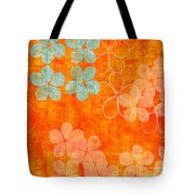 Blue Blossom On Orange Tote Bag