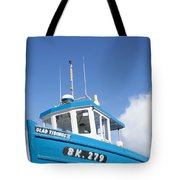 Blue Boat Blue Sky Tote Bag