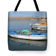 Blue Boat In Sozopol Harbour Tote Bag
