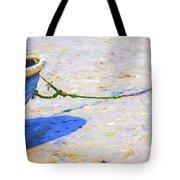 Blue Boat On Mudflat Tote Bag