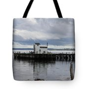 Blue Boat On The Wharf Tote Bag