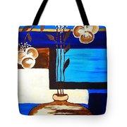 Blue Buds Floral Tote Bag