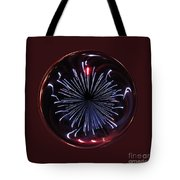 Blue Burst Orb Abstract Tote Bag