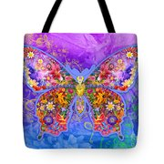 Blue Butterfly Floral Tote Bag