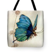 Blue Butterfly II Tote Bag by Warwick Goble