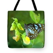 Blue Butterfly In The Green Garden Tote Bag