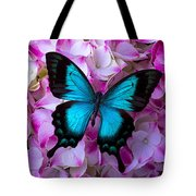 Blue Butterfly On Pink Hydrangea Tote Bag