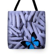Blue Butterfly With Gary Hands Tote Bag by Garry Gay