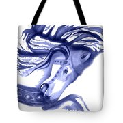 Blue Carrousel Horse Tote Bag