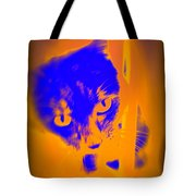 The Blue Cat Is Watching You From Behind The Barres  Tote Bag