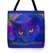 Blue Cat Ponders Tote Bag