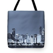 Blue Chicago Skyline Tote Bag