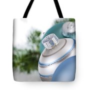Blue Christmas Ornaments Tote Bag