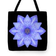 Blue Clematis Flower Mandala Tote Bag