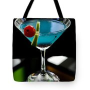 Blue Cocktail With Cherry And Lime Tote Bag