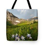 Handie's Peak And Blue Columbine On A Summer Morning Tote Bag