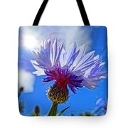Blue Cornflower With Blue Sky Tote Bag