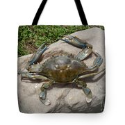 Blue Crab On The Rock Tote Bag