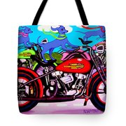 Blue Dogs On Motorcycles - Dawgs On Hawgs Tote Bag